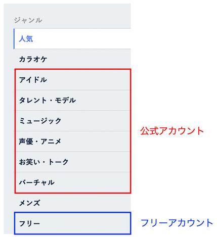 ※ SHOWROOM「オンライブ」メニュー画面イメージ